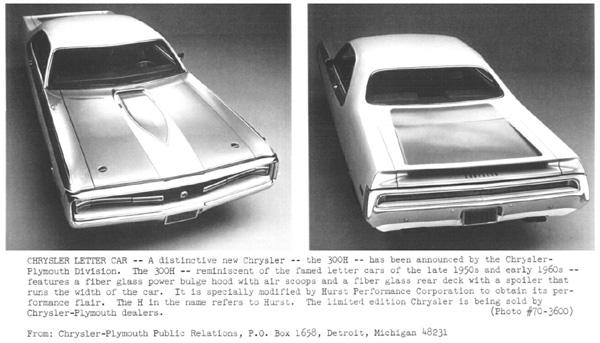 1970 Chrysler Hurst 300 - Press Release