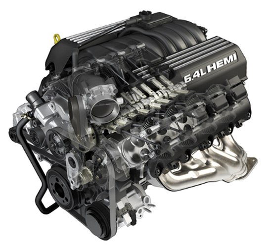 6.4-liter HEMI V-8 engine cutaway for Chrysler 300 SRT.