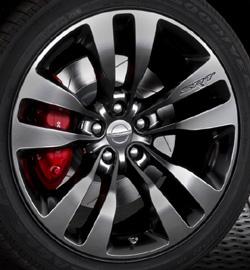 20-inch by 9-inch forged-aluminum split five-spoke SRT wheels