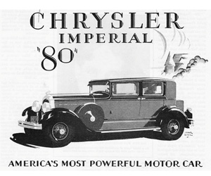 Above: 1927 Chrysler, photo from the Chrysler archives.