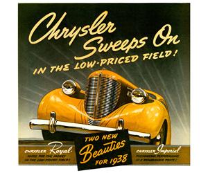 1938 Chrysler, photo from the Chrysler archives.