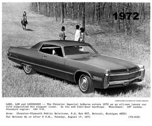 1972 Chrysler Imperial Lebaron, photo from the Chrysler archives.
