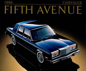 1986 Chrysler Fifth Avenue, photo from the Chrysler archives.