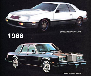 1988 Chrysler Fifth Avenue, photo from the Chrysler archives.