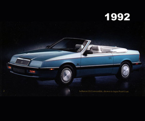 1992 Chrysler Lebaron Convertible, photo from the Chrysler archives.