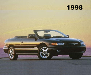 1998 Chrysler Sebring Convertible, photo from the Chrysler archives.