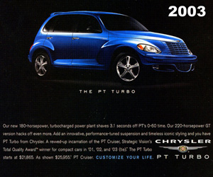 2003 Chrysler PT Cruiser Turbo, photo from the Chrysler archives.