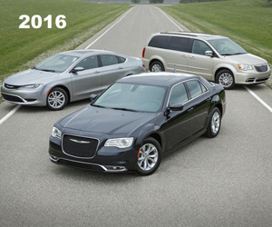 2016 Chrysler 300, 200 and Town & Country (front to back), photo from the Chrysler archives.